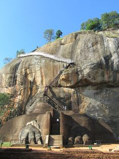 The stairway to the summit of Sigiriya Lion Rock in central Sri Lanka begins between a pair of 5th century lion's paws.