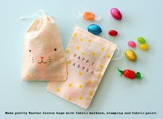 easter favor bags.  marker in the bunny face.