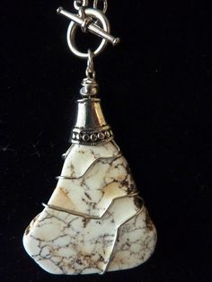 White Turqouise or Howlite and Silver Pendant by carolesart, $68.00
