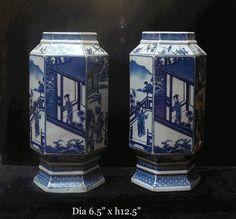 Pair Chinese Blue & White Porcelain Scenery Hexagon Vase - Golden Lotus Antiques