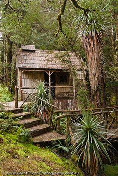 AUSTRALIA, Tasmania, Cradle Mountain-Lake St Clair National Park. Weindorfer's bathhouse at Waldheim ('forest home'); Gustav Weindofer was the earliest advocate of the formation of the national park and lived here 1912-1932.