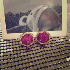 NWT Anthropologie stud earrings hammered stone Very pretty radiant orchid color  Anthropologie earrings Anthropologie Jewelry Earrings