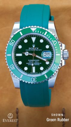 Green with Envy over this beautiful combo of the Everest Green with rubber watch band on the hulk? Discover a great combo for your Rolex or Tudor today at www.everestbands.com