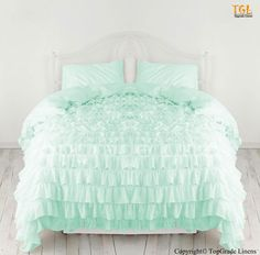 All sizes All color 100% Egyptian Cotton 1000tc Waterfall Ruffle Duvet Cover Set #GoodnightBedding #Ruffled