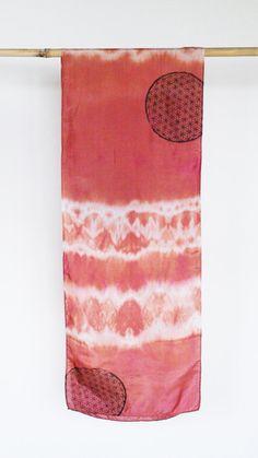 Soft rose hand printed silk scarf shibori dyed scarf by 88editions