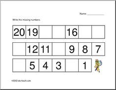 Kindergarten Practice Writing Numbers 1 20 10