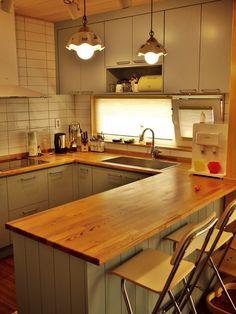 Home Decor Kitchen, Home Kitchens, Kitchen Design, Japanese Style House, Cocinas Kitchen, Home Budget, Kitchen Lighting Fixtures, Mini Kitchen, Aesthetic Room Decor