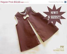 Patrones de costura vestido niña. Tutorial PDF. Tallas 3-6 meses hasta 5 años.. €3,85, via Etsy.