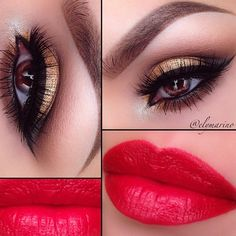 #ElyMarino created this gorgeous holiday look with bold red lips and gold glitter using #MotivesCosmetics!
