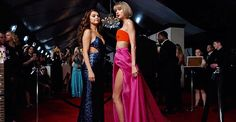 Selena Gomez and Taylor Swift attend The 58th GRAMMY Awards