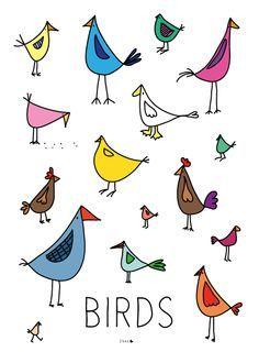 Birds Elske www. Bird Drawings, Doodle Drawings, Animal Drawings, Easy Drawings, Doodle Art, Colorful Drawings, Animal Doodles, Stick Figures, Whimsical Art