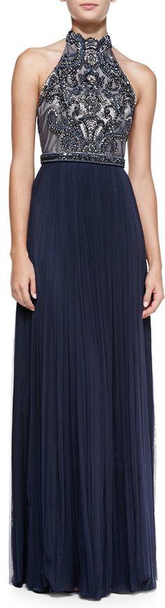 Catherine Deane Halter Beaded Bodice Gown