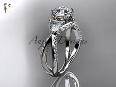"""Unique platinum diamond wedding ring, engagement ring with a """"Forever One"""" Moissanite center stone ADLR318 - Wedding and engagement rings (*Amazon Partner-Link)"""