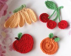 These crochet strawberries made with cotton yarn, cottom and bamboo mixed yarn    strawberry size in 1-1/8X1.  strawberry colors in red, green,black    You can sew these crochet strawberries on to dress, Jacket, sweater. hat. bag. etc.    Please take a look at my other shop.  https://www.etsy.com/shop/YHYarn    Thanks for looking