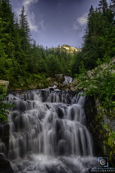 One of the many waterfalls on the way up to paradise in Mount Rainier NP - HDR Go Camping, Outdoor Camping, Camping Hacks, Washington State Parks, Outdoor Pictures, Mount Rainier National Park, Landscape Photos, Amazing Nature, Places To See