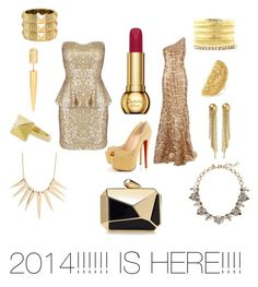 """2014 Is Here!"" by cherries-bc ❤ liked on Polyvore featuring Georges Mak, Christian Louboutin, MANGO, Pristine, Charlotte Russe, Vince Camuto, Erickson Beamon, J.Crew, Sparkling Sage and KOTUR"
