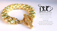 #netting #bracelet with #beaded #clasp #gold colour. A mix of cream, light green and gold, very elegant and spring. (even very cold now in #Rome...) https://www.facebook.com/dragons.and.cats