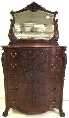 Lot 2043: Antique Carved 5 Drawer High Chest W/cheval Mirror Feb 20, 2016