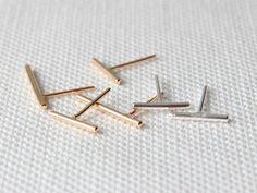 Bar-Ohrringe 14K Solid Gold Bar Ohrring von DavieAndChiyo607