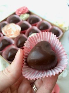 Almond Butter Chocolate Hearts - An easy recipe that's perfect for Valentine's Day... or any day!  Ingredients: Semisweet or dark chocolate chips Natural almond butter Coconut oil Pure maple syrup (or honey) Vanilla