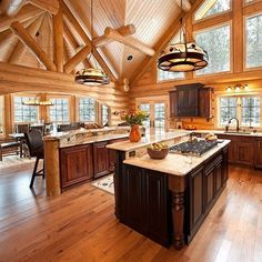 Wooded Retreat constructed by Render Construction of Petoskey MI. home interior, Log Homes Photo Galley - Log Cabin Bureau The Loft, Log Cabin Kitchens, Log Cabin Homes, Log Cabin Bathrooms, Cabin Style Homes, Block House, Home Staging, Casa Hotel, Modern Log Cabins