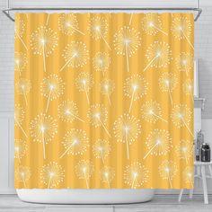 Dandelion Yellow Pattern Print Bathroom Shower Curtain Yellow Shower Curtains, Bathroom Shower Curtains, Pattern Print, Print Patterns, Dandelion Yellow, Bathroom Color Schemes, Curtain Material, Curtain Patterns, Yellow Bathrooms