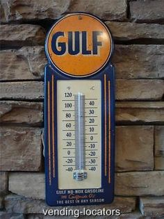 Large Gulf Gasoline Thermometer