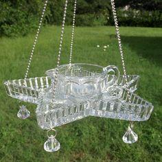 Vintage Glass Star Divided Hanging Bird Feeder by ARTfulSalvage, $38.00