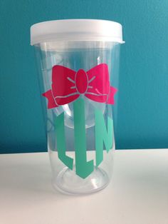 Bow Monogram Wine Tumbler perfect gift for friends, or yourself! :)