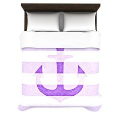 "Monika Strigel ""Stone Vintage Purple Anchor"" Duvet Cover"