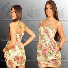 Smashed Lemon Flower Kleid Beige