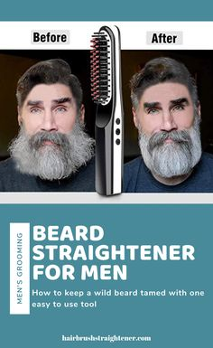 Learn how to go from unkept to dapper in a few minutes, with a beard straightener! These things work fast to tame your man's ever growing facial hair. Go from wild and wooly to smooth and stylish in… Continue Reading → Growing Facial Hair, Beard Straightening, Thick Beard, Viking Beard, Beard Brush, Beard Model, Hair Brush Straightener, Fast Hairstyles, Beauty Advice
