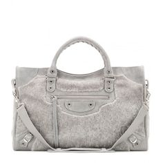 Balenciaga Classic City Shearling Tote ($1,800) ❤ liked on Polyvore featuring bags, handbags, tote bags, balenciaga, grey, grey tote, gray purse, balenciaga tote, balenciaga tote bag and tote bag purse