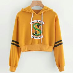 Buy 2019 Sexy Crop top Harajuku Kawaii Hoodie RIVERDALE South Side Serpent Print Hot Female Pink Korean Style Hoodies Sweatshirts - orange - and Find more Women's Hoodies & Sweatshirts enjoy up to off. Crop Top Hoodie, Cropped Hoodie, Kawaii Hoodie, Riverdale Merch, Riverdale Fashion, Harajuku, Crop Top Outfits, Casual, Crop Tops