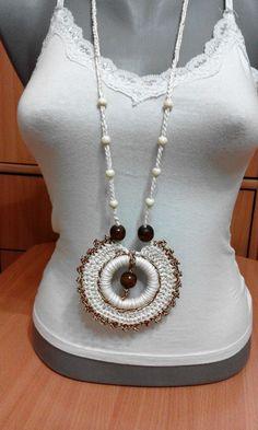 Crochet Necklace made by Lidija Farago Fabric Jewelry, Beaded Jewelry, Handmade Jewelry, Crochet Flower Tutorial, Crochet Flowers, Crochet Bracelet, Crochet Earrings, Crochet Geek, Knit Crochet