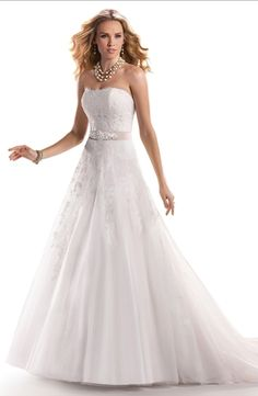 Strapless A-Line Wedding Dress  with Natural Waist in Alencon Lace. Bridal Gown Style Number:32790784