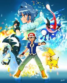Ash Ketchum with his Pikachu and his newly evolved Greninja ^.^ ♡ I give good credit to whoever made this