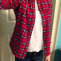 Cute A&F Red Plaid Flannel Childs Medium---no fading or stains😊 Abercrombie & Fitch Shirts & Tops Button Down Shirts