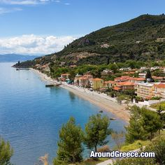 The coastal village of Ilia on the island of Evia the second largest island in Greece Area Units, Ferry Boat, Greece Islands, Greece Travel, Coastal, River, City, World, Instagram Posts