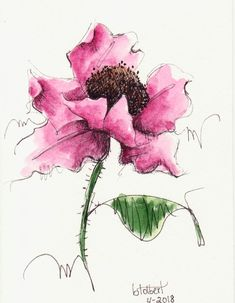 """Original artwork of a single lovely red poppy flower with a poppy rendered in pen, ink and watercolor. The poppy watercolor is painted in shades of mayan red that make the flower seem so vivid. It is titled """"Dancing Red Poppy"""" and is signed and dated at the bottom with the title on"""