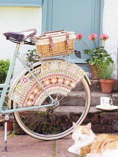 Crocheted Bike Skirt Guard by Messyla----I just need a beautiful bike like this one to put it on!