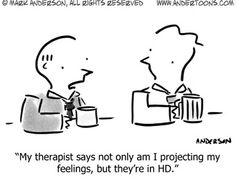Therapy Cartoon # 6121 - My therapist says not only am I projecting my feelings, but they're in HD. Projecting Feelings, Mental Health Humor, Psychology Jokes, Therapy Humor, Social Work Practice, Daily Jokes, Laughter The Best Medicine, Technology Humor, Simple Cartoon