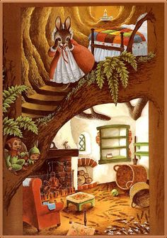 Martha B Rabbit The Fairies Cook - Martha looking at what the wicked rats have stolen