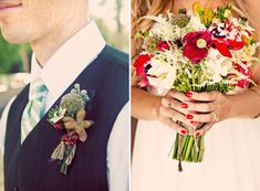 I love the red and green flower combo. I think I would want to add some sunflowers too