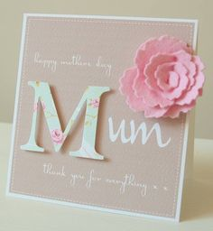 handmade personalised felt flower mother's day card