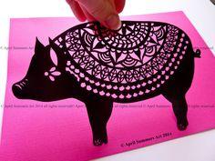 COMMERCIAL Mr Pig Digital DIY Papercutting File by AprilSummersArt