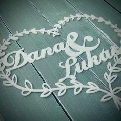 Dortový zápich - svatební srdce se jmény Wedding Decorations, Wedding Decor