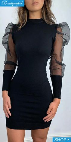 Solid Mock Neck Puff Sleeve Mesh Insert Bodycon Dress Source by alla moda Beautiful Black Dresses, Simple Black Dress, Elegant Dresses For Women, Simple Dresses, Pretty Dresses, Dresses With Sleeves, Little Black Dress Classy, Casual Dresses, Classy Dress