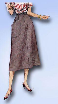 1950s Misses Simplicity Sewing Pattern 4179 Uncut Misses Simple Skirt Size 28W #Simplicity #SkirtPattern