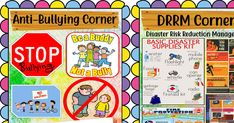 Download for FREE these Ready to Print Anti-Bullying Corner, DRRM Corner, GAD Corner, and NDEP Corner. Just click on the DOWNLOAD button... Disaster Kits, Teacher Bulletin Boards, Fruits For Kids, Award Certificates, Classroom Walls, Anti Bullying, Reading Material, Awards, Corner